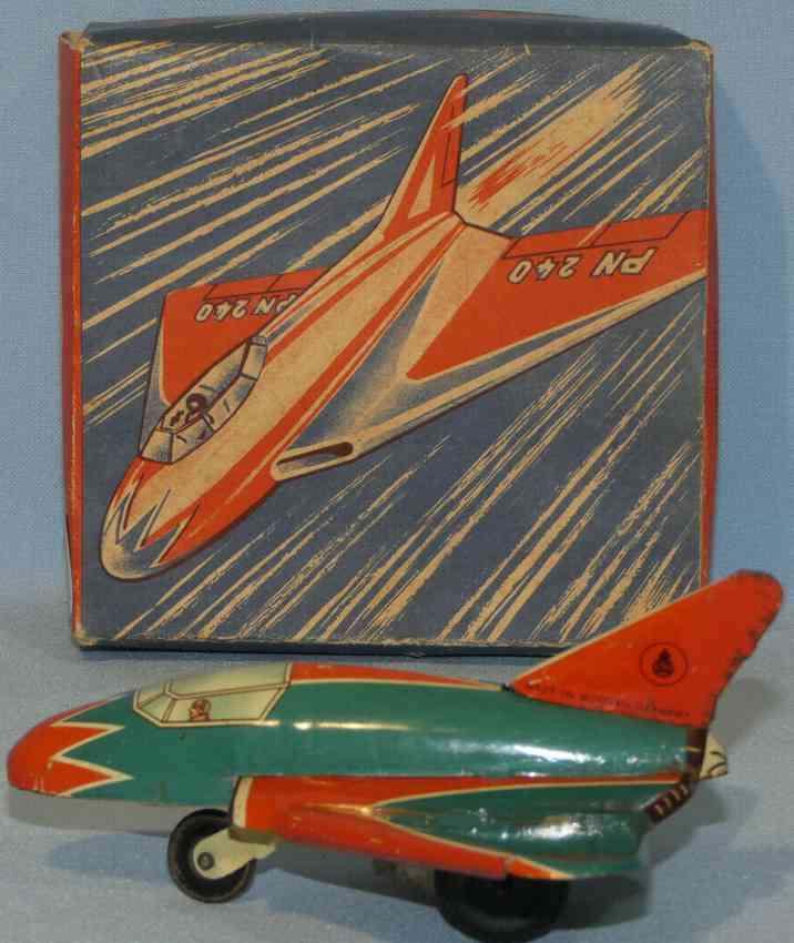 niedermeier philipp 240 tin toy airplane small fighter with flywheel drive