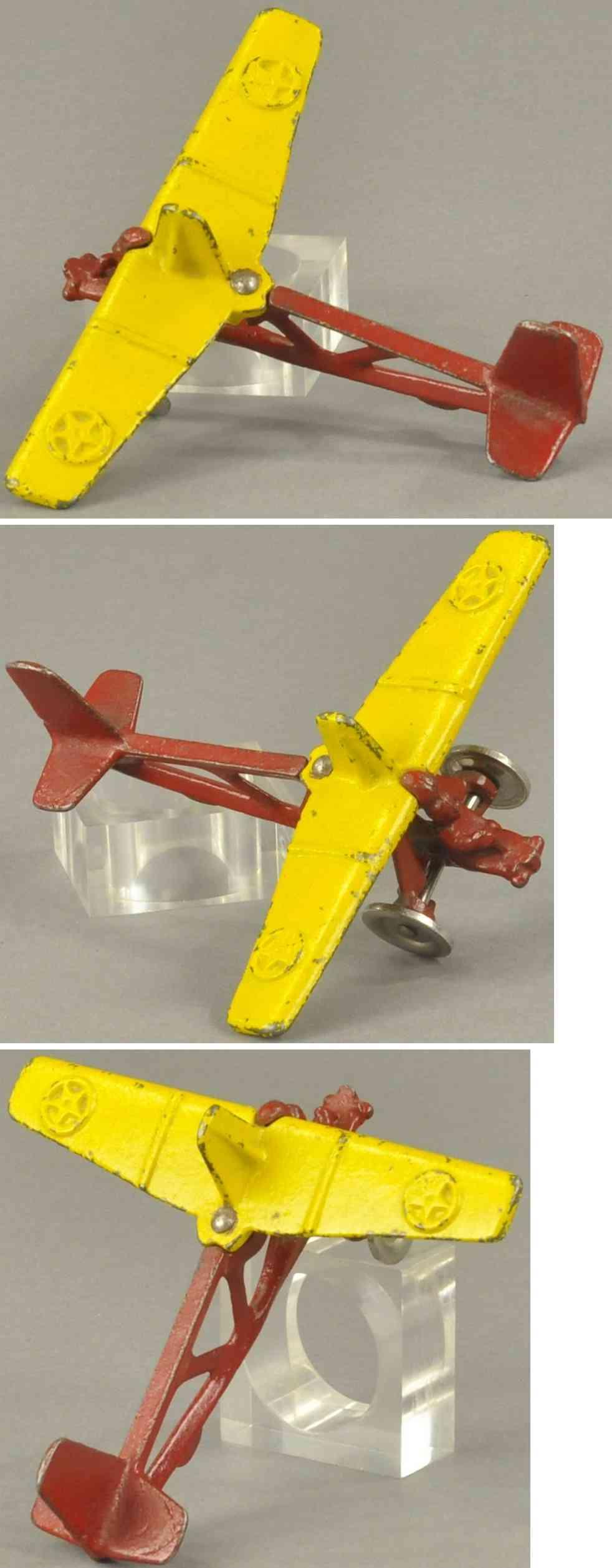 north & judd spielzeug gusseisen segelflugzeug gelb rot