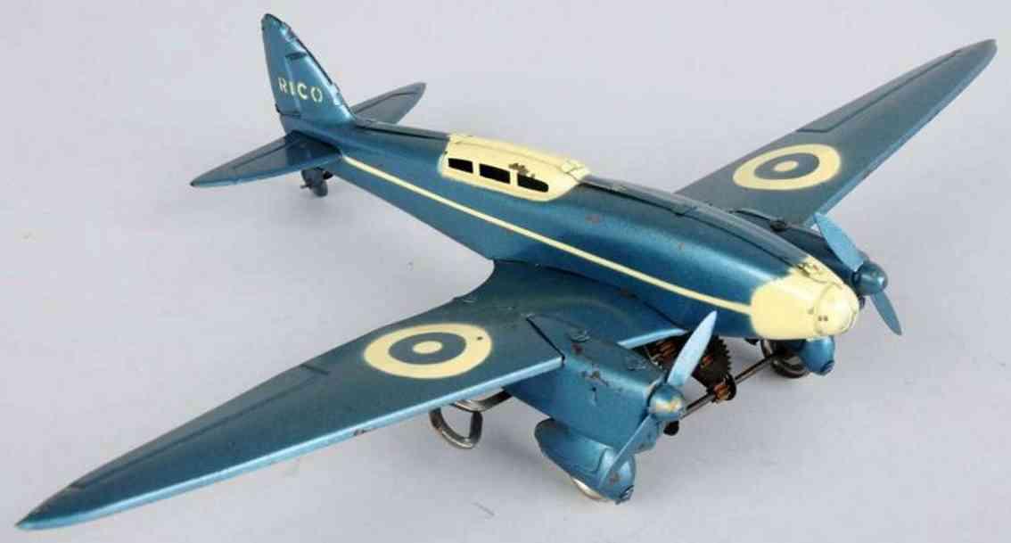 rico de haviland comet racer tin toy  airplane wind-up