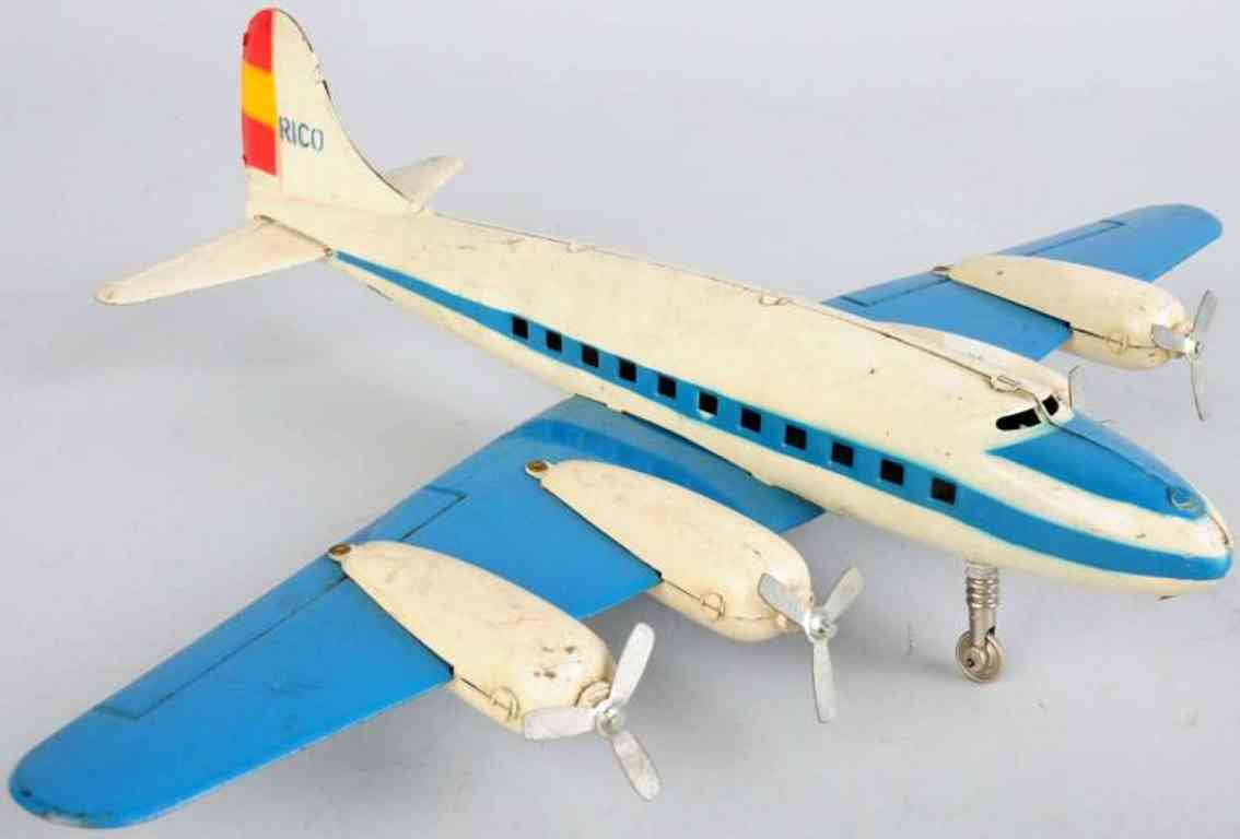 rico dc-4 tin toy airplane with friction drive