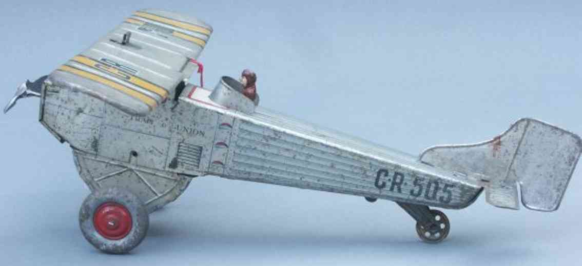 charles rossignol CR 505 tin toy airplane single-engined high-wing monoplane in silvery gray lithograp