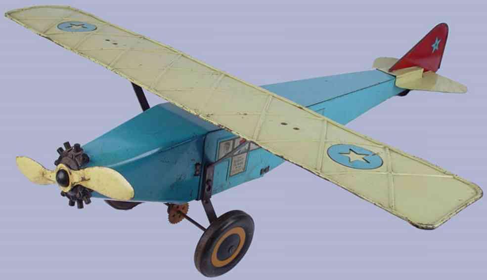 schieble 20 blech spielzeug flugzeug mit passagiern blau gelb