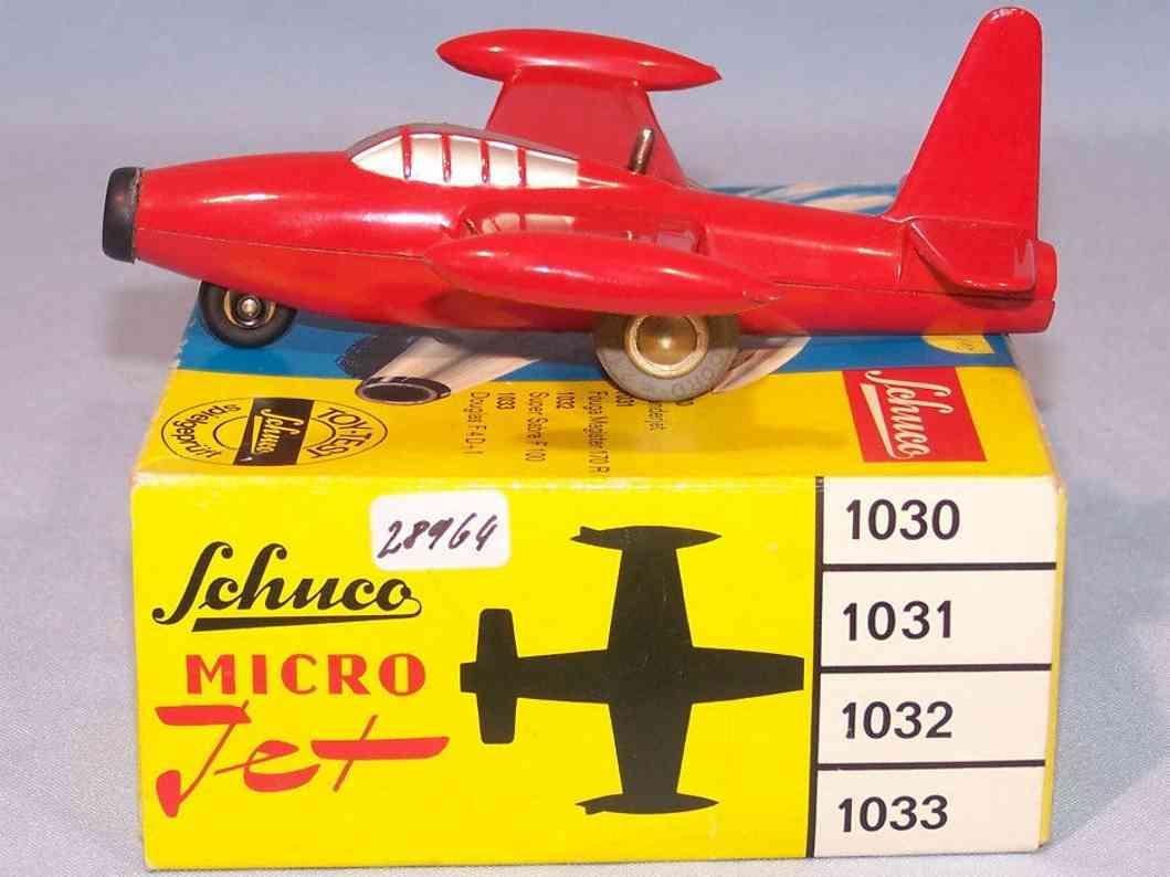 schuco 1030 blech spielzeug micro jet thunderjet rot