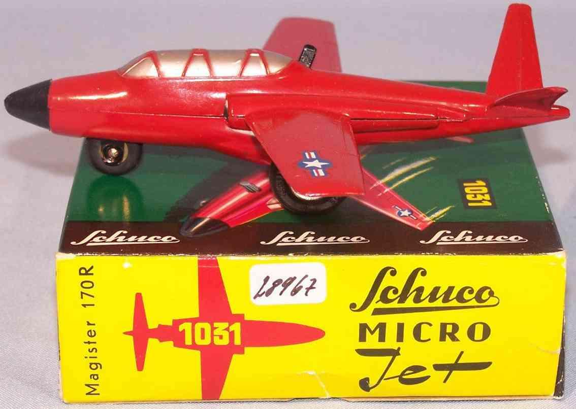 schuco 1031 blech spielzeug flugzeug micro jet magister 170r