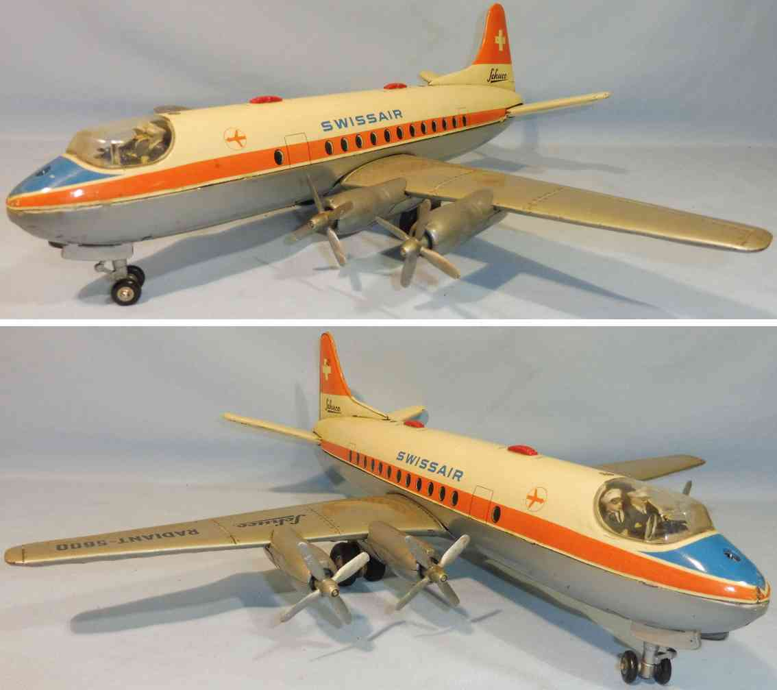 schuco tin toy airplane radiant 5600 electric swissair