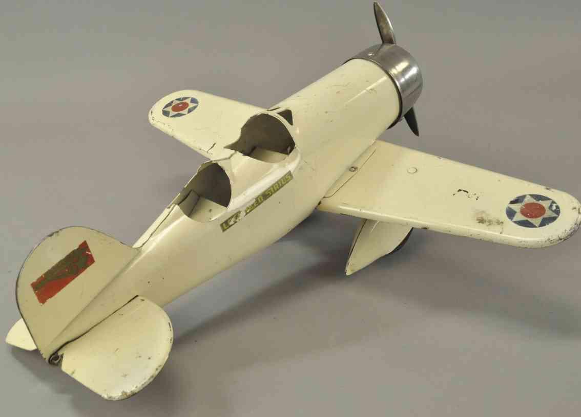 steelcraft stahlblech spielzeug einmotoriges flugzeug lockheed-sirius weiss