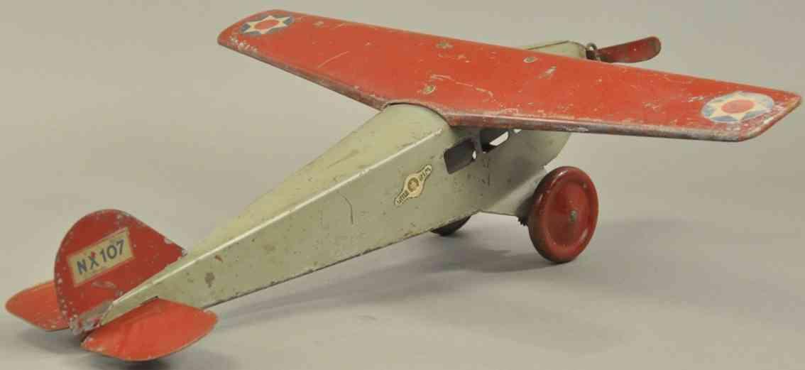 steelcraft nx 107 stahlblech spielzeug grau rot ein propeller