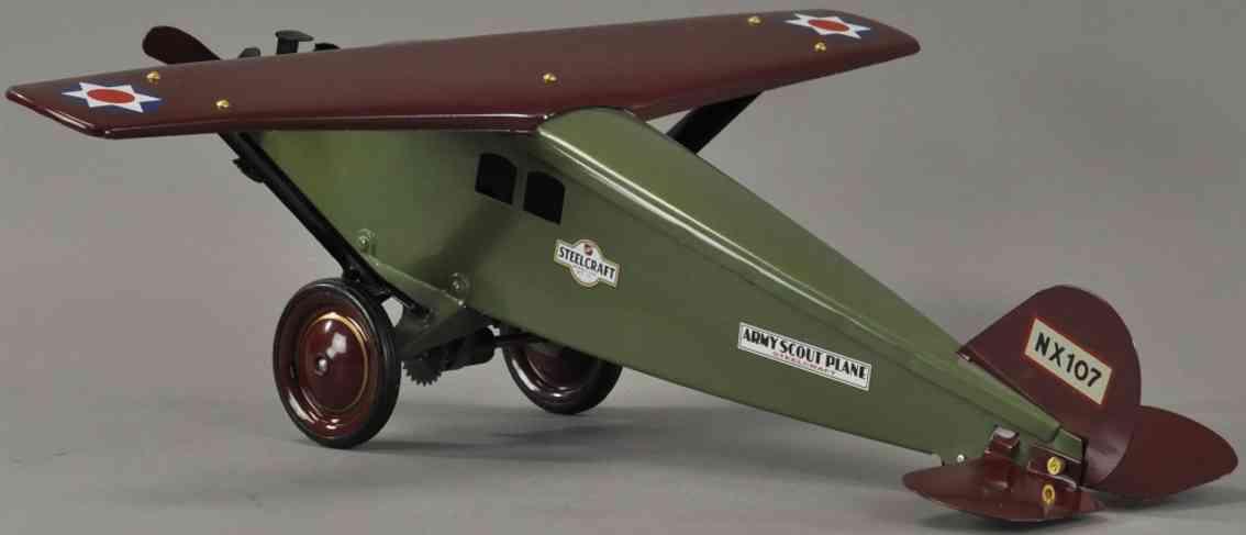steelcraft nx107 blech spielzeug militaerflugzeug gruen braun
