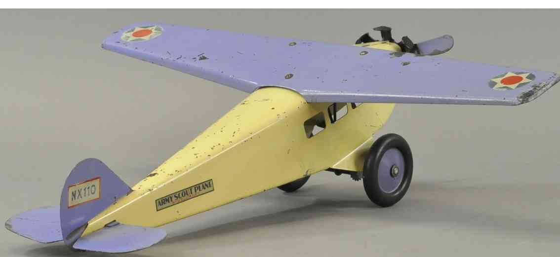 steelcraft stahlblech spielzeug armee kundschafterflugzeug nx110 creme lila