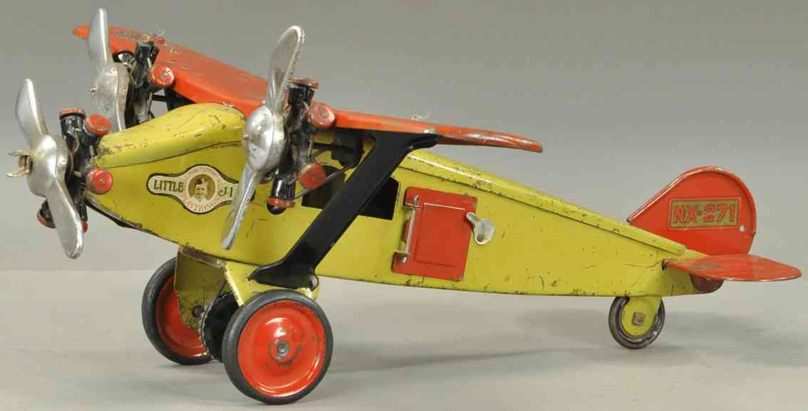 steelcraft nx271 pressed steel toy mail airplane yellow red three propellers