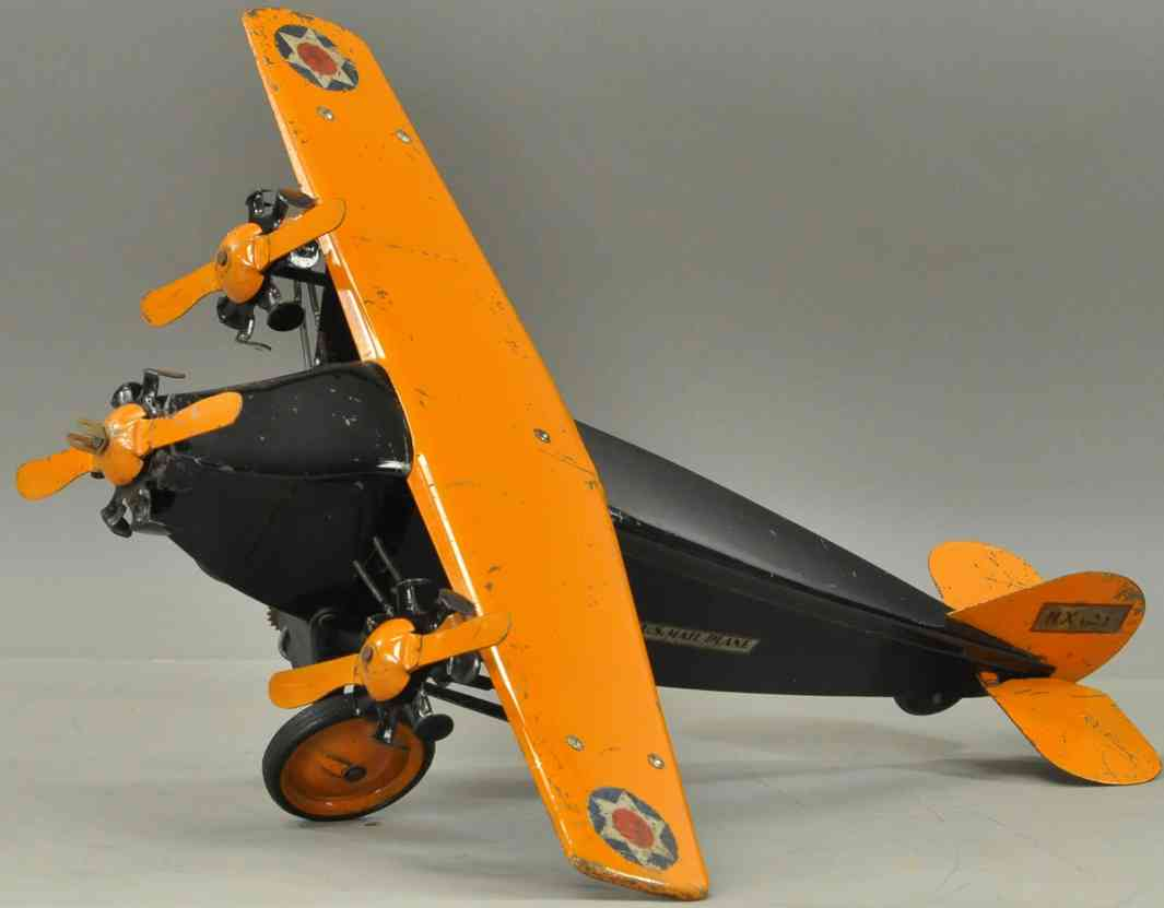 steelcraft blech spielzeug 3-motoriges us luftpost flugzeug schwarz orange