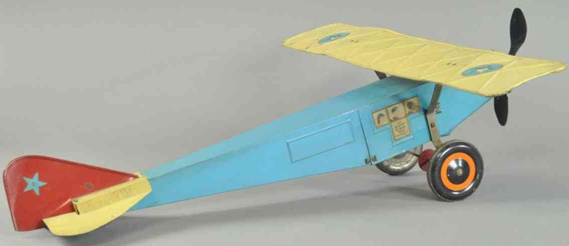 steelcraft spielzeug militaer aufklärflugzeug stahlblech blau gruen
