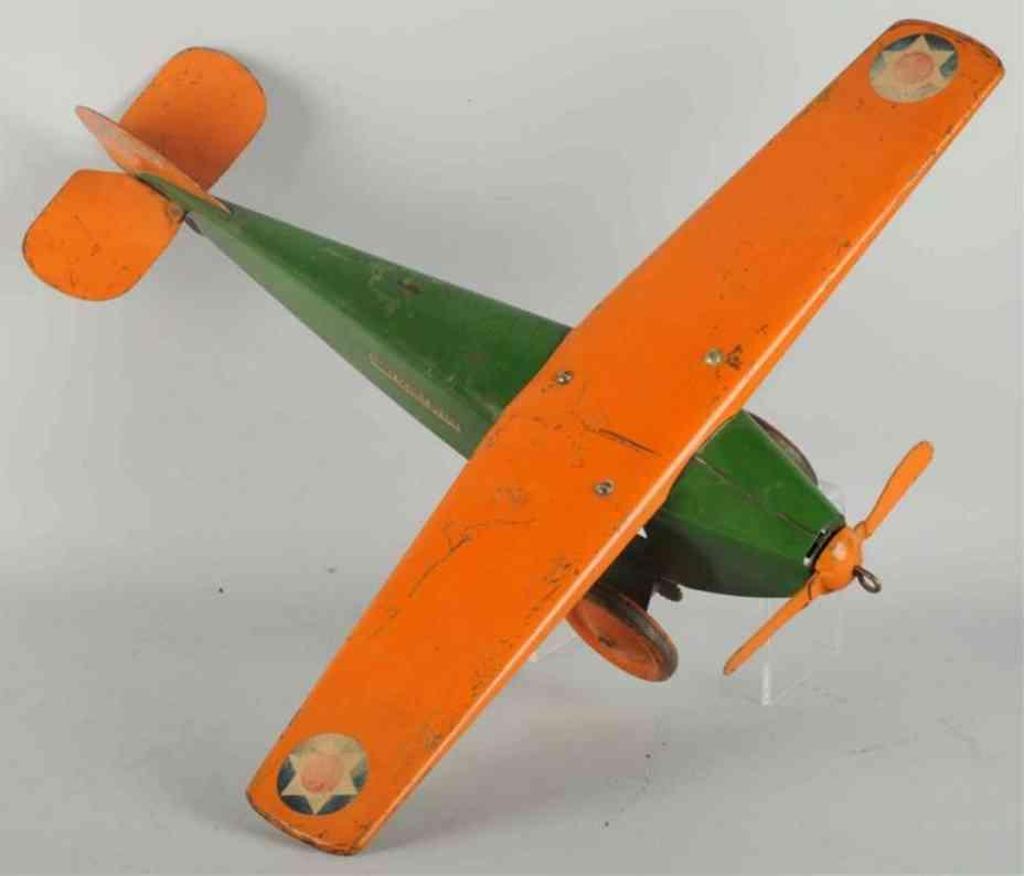 steelcraft nx107 stahlblech militaer kundschafterflugzeug gruen orange