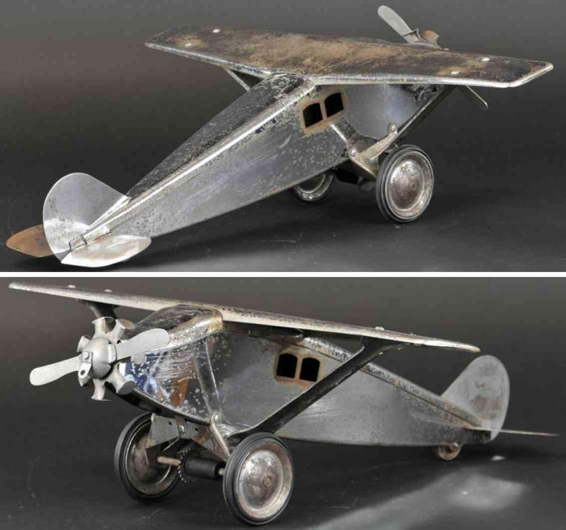 steelcraft sthalblech spielzeug flugzeug vernickelt