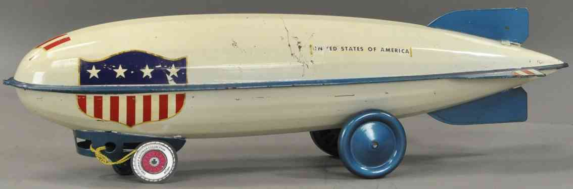 steelcraft tin toy painted zeppelin white blue flag