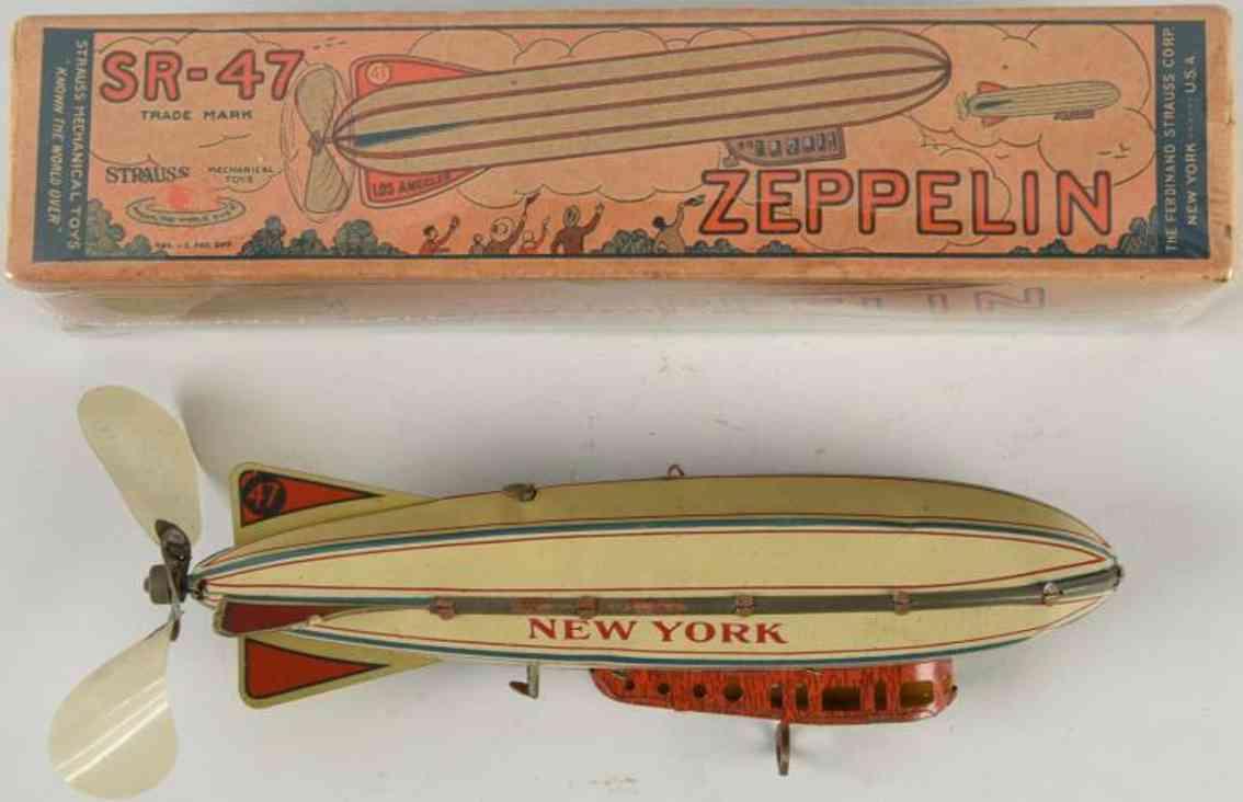 strauss tin toy zeppelin new york
