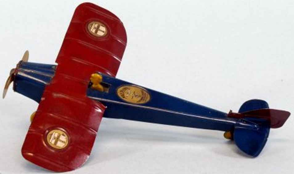 strauss ferdinand tin toy airplane mail plane lithographed tin with red wings and blue fuselage