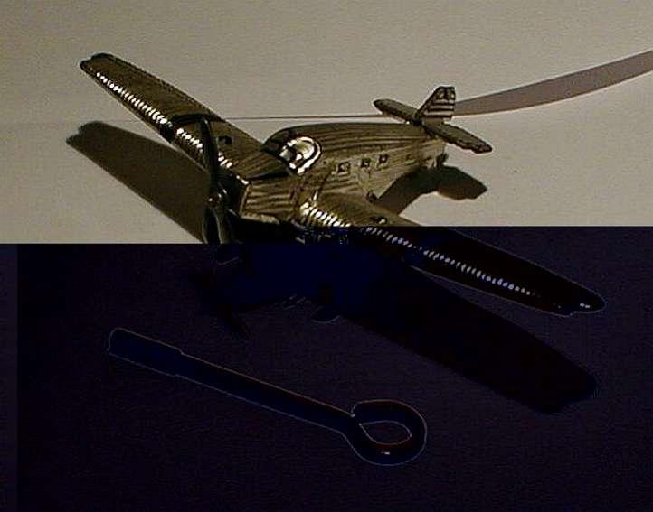technofix 228 blech spielzeug flugzeug flugzeug mit uhrwerk, langsam laufend. es gibt zwei verschie