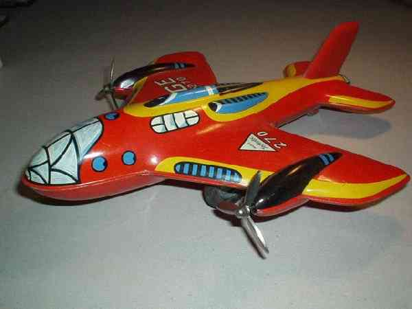 technofix 270 tin toy airplane with propeller and friction drive
