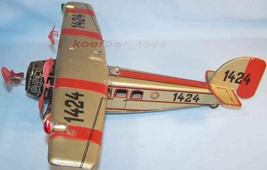 tippco 1424 hochdecker flugzeug mit uhrwerkantrieb