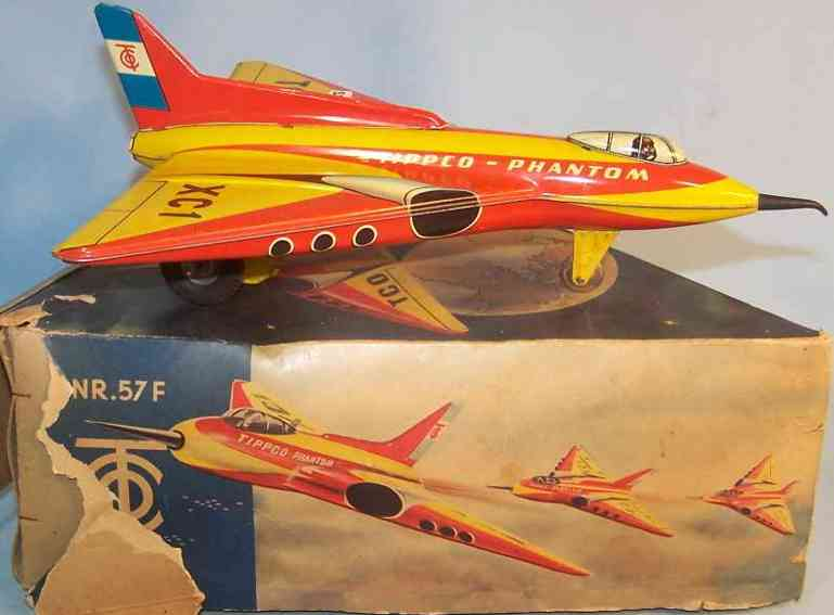 tippco 57F tin toy phantom aireplane with flywheel drive