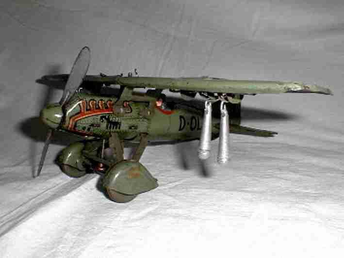 tippco d-olaf blech spielzeug flugzeug bombenflieger d-olaf