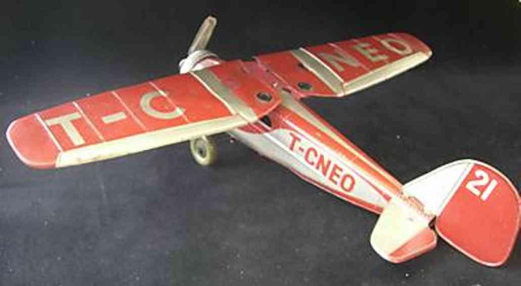 tippco 21 blech spielzeug flugzeug ju eindecker t-c neo uhrwerkantrieb