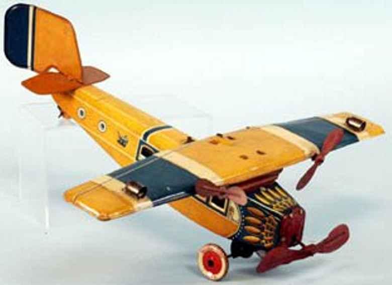 tippco blech spielzeug flugzeug uhrwerk orange
