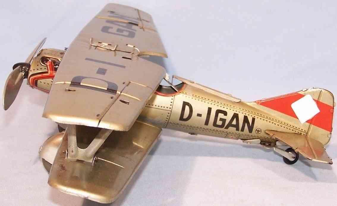 tippco d-igan blech spielzeug flugzeug doppeldecker mit pilot