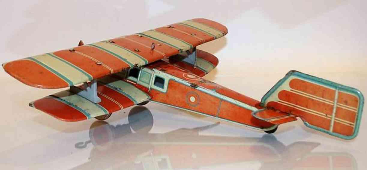 tippco 14d tin toy biplane carroty white blue