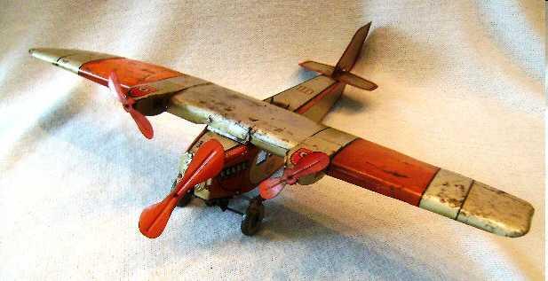 tippco blech spielzeug flugzeug mit uhrwerkantrieb