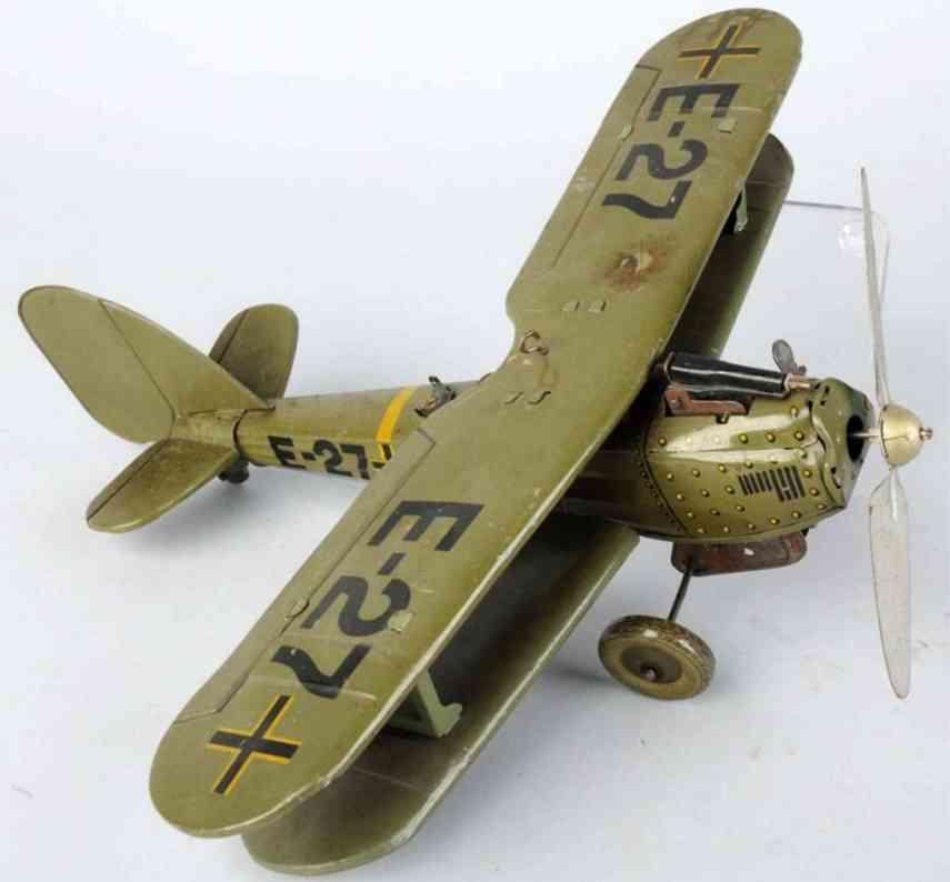 tippco e-27 blech spielzeug flugzeug doppeldecker mit uhrwerk