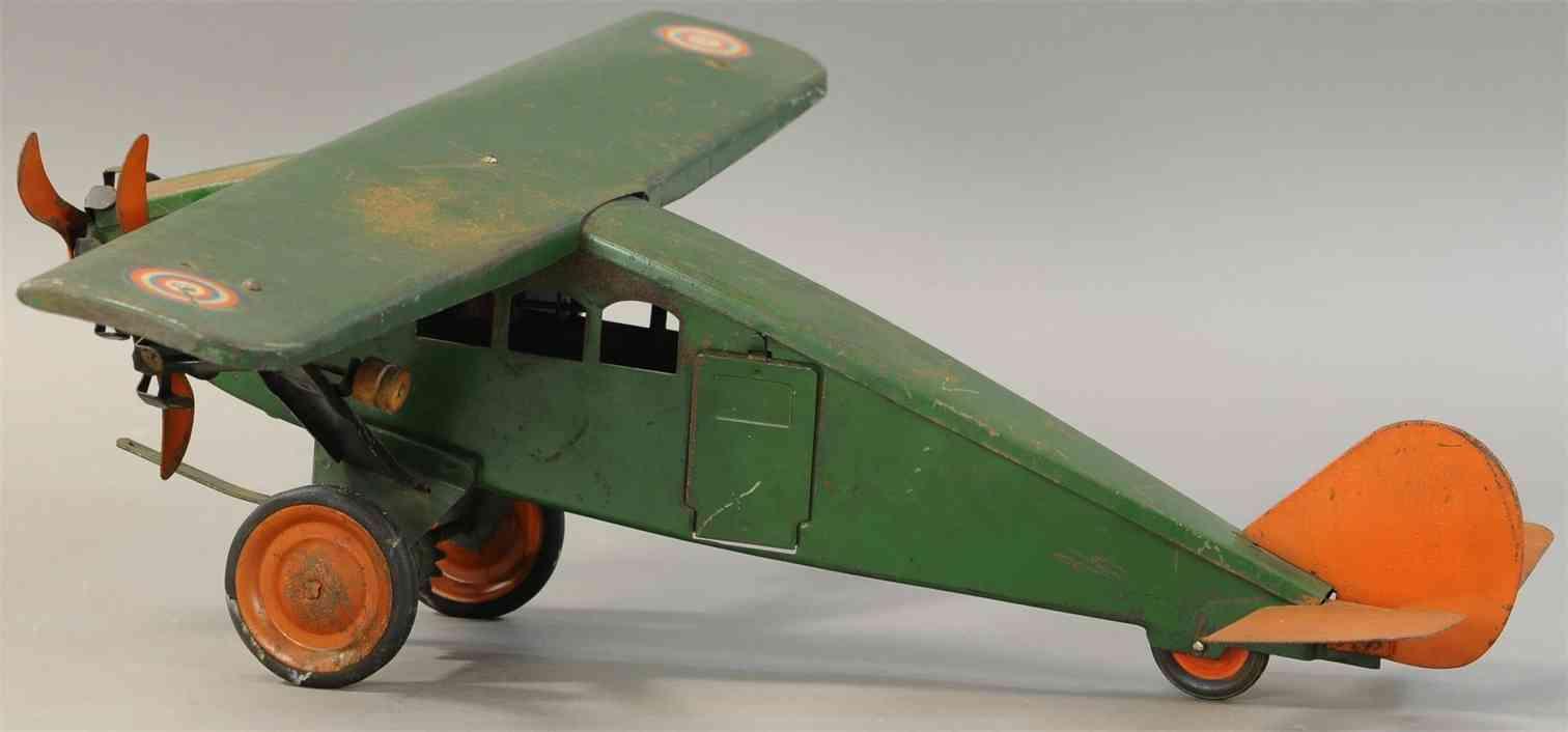 turner toys tin toy tri-motor airplane green orange