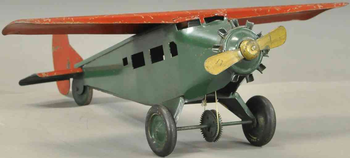 turner toys pressed steel toy monocoupe airplane green red