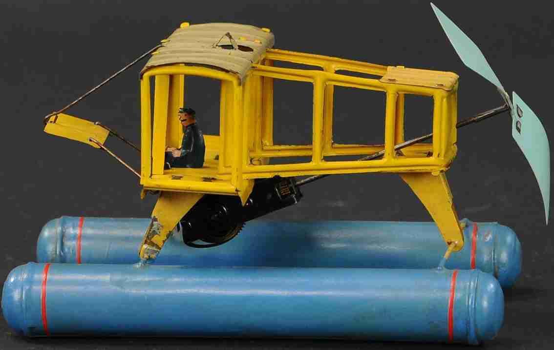 blech spielzeug wasserflugzeug mit uhrwerk und pilot