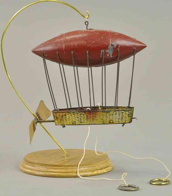blech spielzeug heissluftballon zeppelin braun