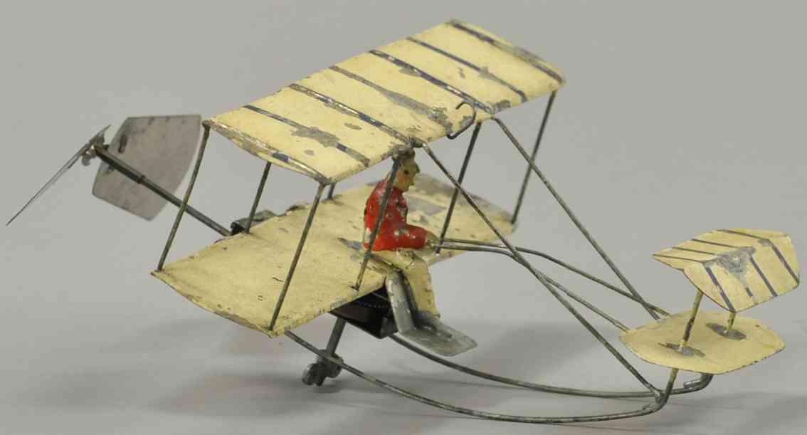 blech spielzeug schub flugzeug braun pilot