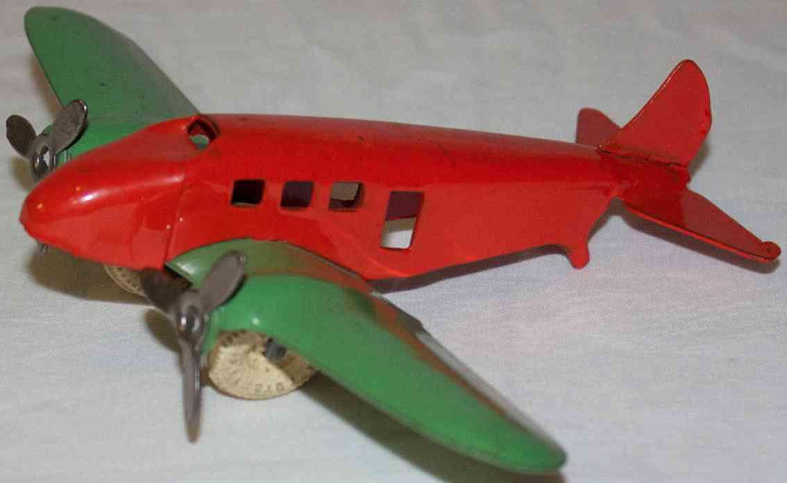 wyandotte stahlblech spielzeug flugzeug  orange gruen 2 propeller