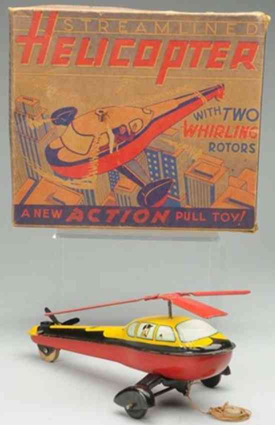 wyandotte tin pull toy streamlined helicopter