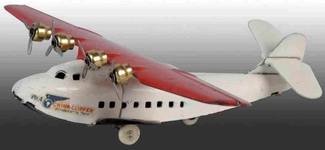 wyandotte china clipper flugzeug aus stahlblech mit Uhrwerk