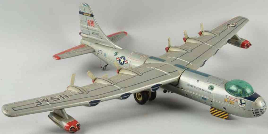 yonezawa tin toy airplane convair us air force b-36 bomber with friction drive