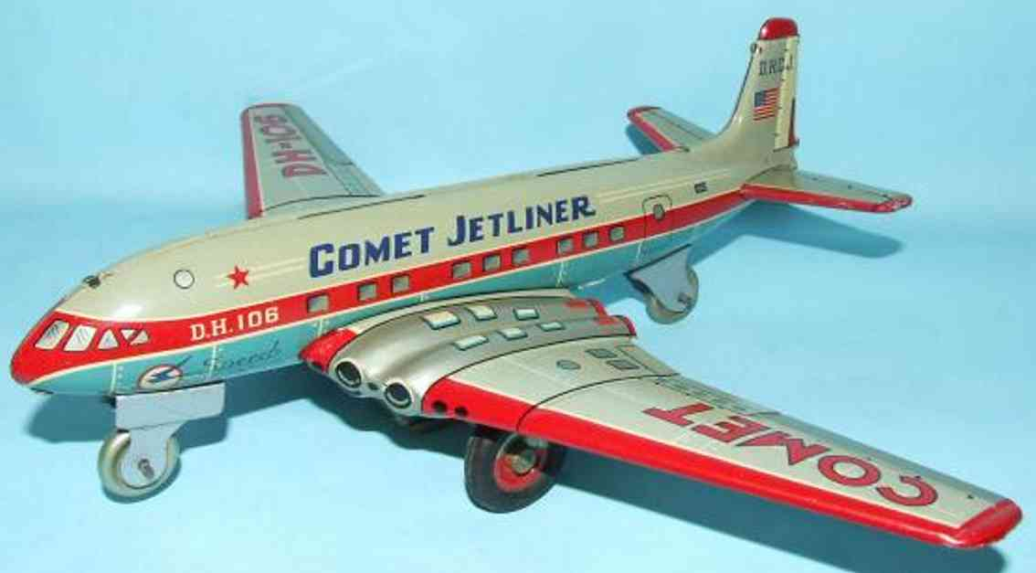 yonezawa blech spielzeug flugzeug comet jetliner flugzeug lithografiert mit friktionsantrieb,