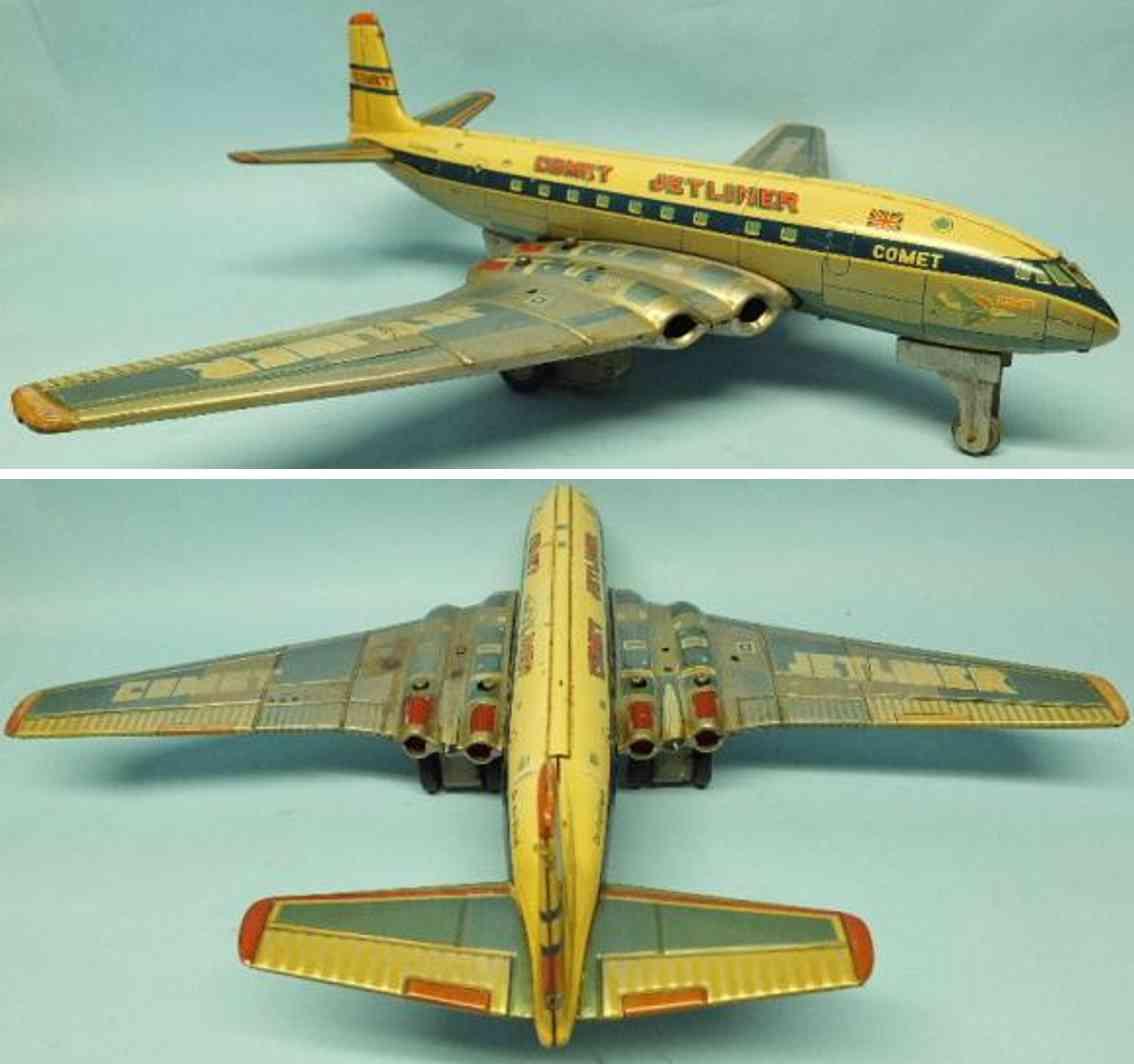 yonezawa tin toy airplane de havillan comet jetliner