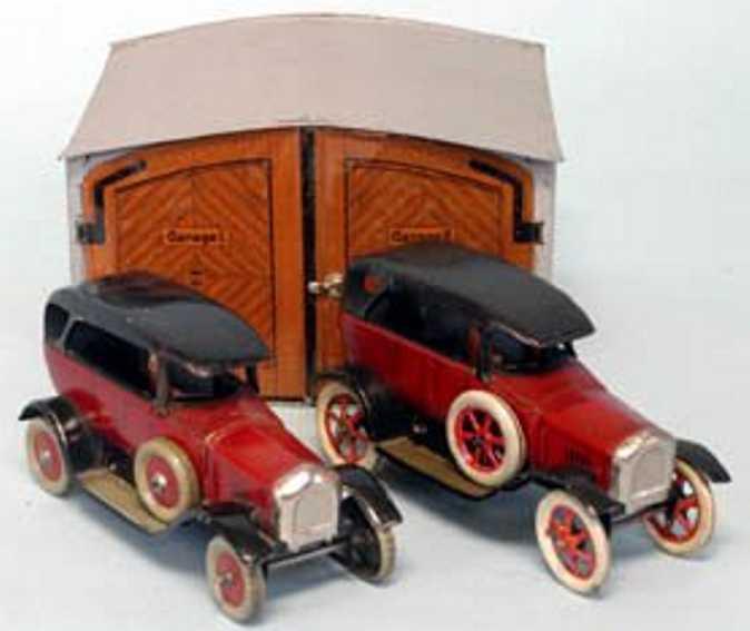 bing blech spielzeug garage 2 rote autos mit garage