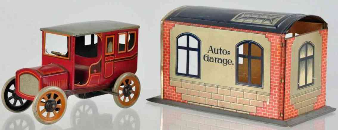 bing tin toy garage with car