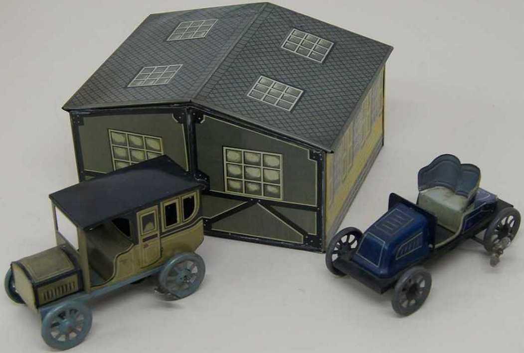 bing blech spielzeug garage mit zwei autos