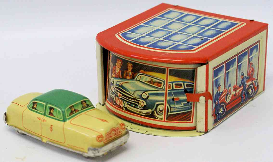 gescha tin toy garage filling station garage with friction sedan