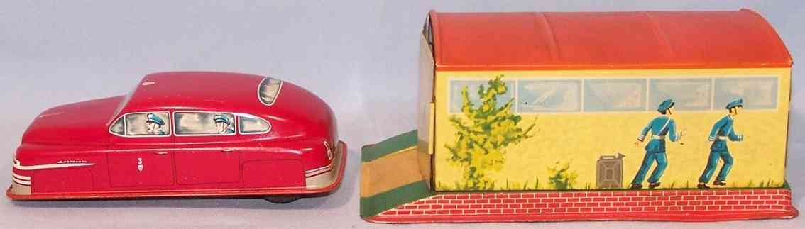 hammerer & kuhlwein 564 tin toy garage with car flywheel