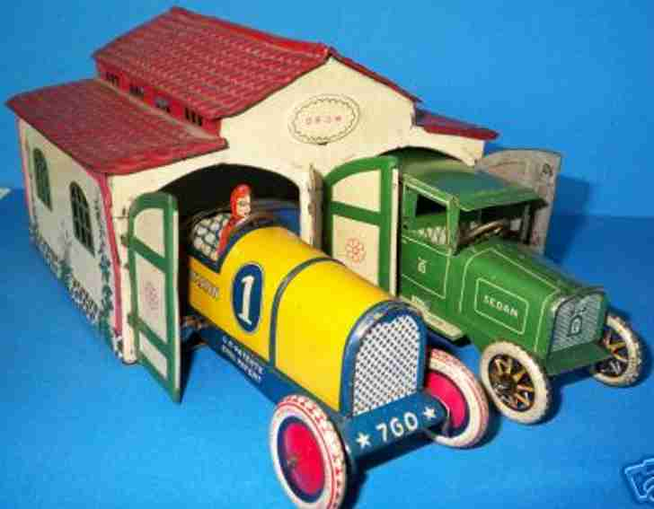 lehmann 772 blech spielzeug garage autohuette vierfarbig