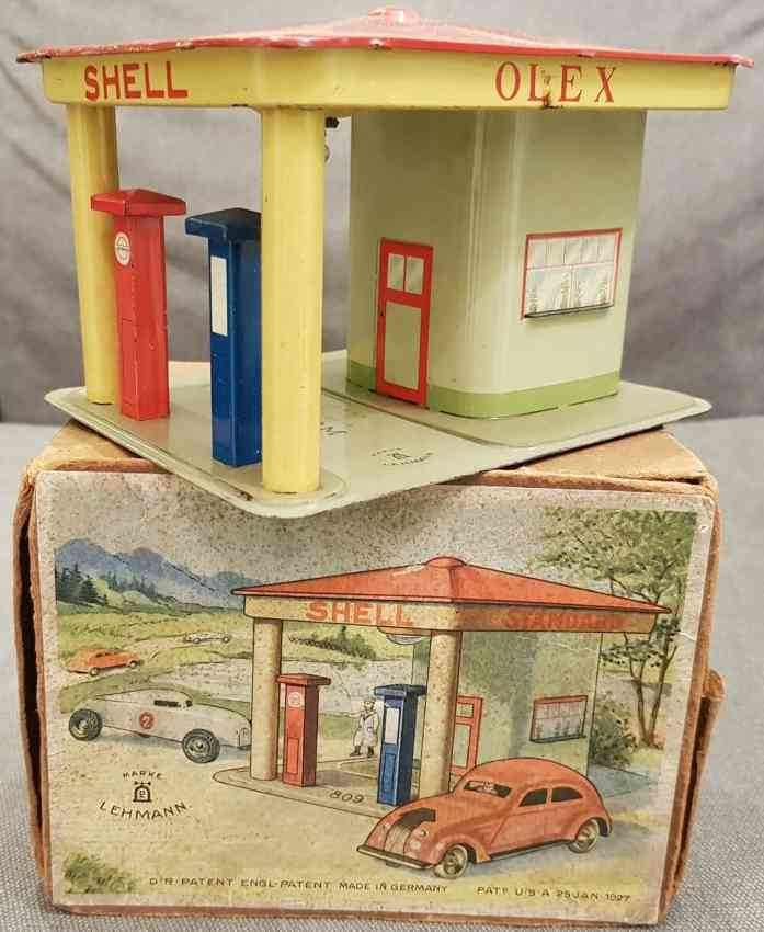 lehmann 809 tin toy garage service station gnom